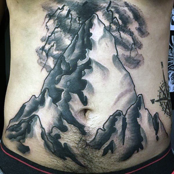 Stomach Men's Mountain Man Tattoo