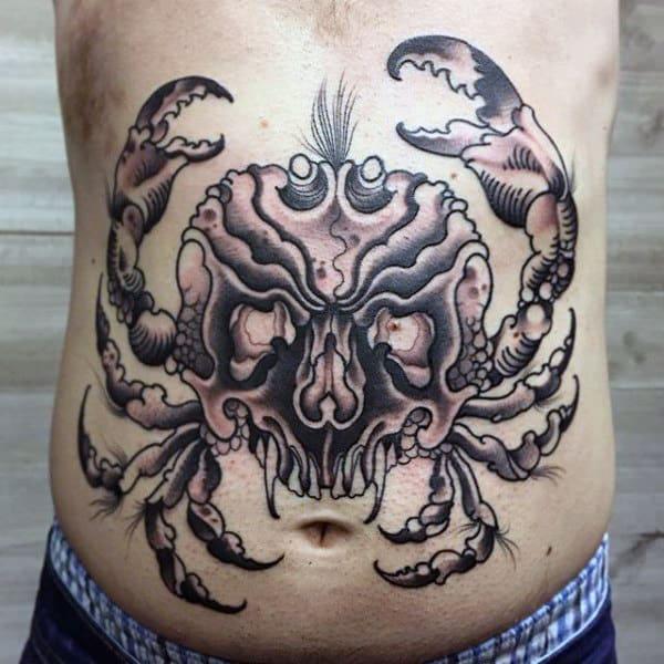 Stomach Old School Guys Black Ink Skull Crab Tattoos