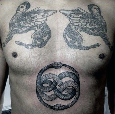 Stomach Ouroboros Male Tattoo Deisgns