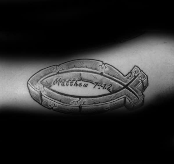 Stone 3d Arm Male Ichthus Tattoo Designs