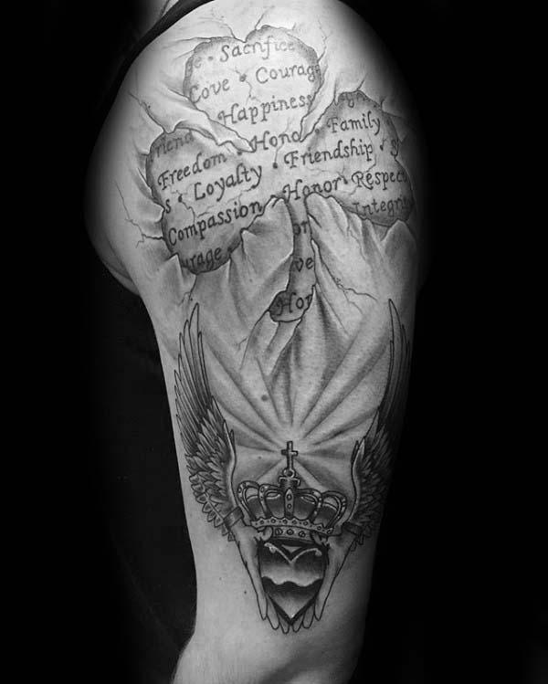 Stone 3d Claddagh With Three Leaf Clover Guys Irish Quote Arm Tattoos
