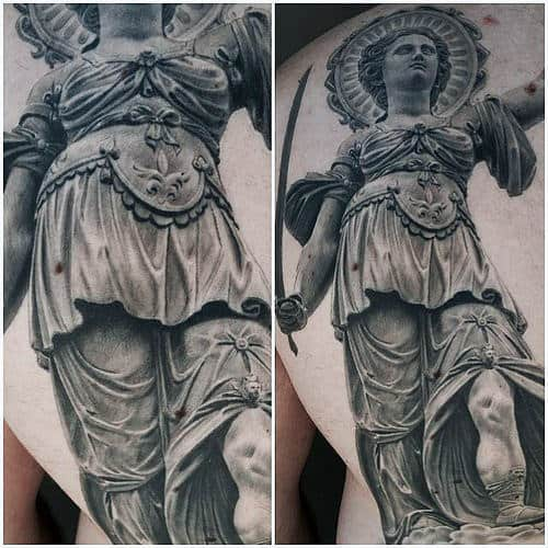 Stone 3d Lady Justice Male Tattoo Ideas On Back