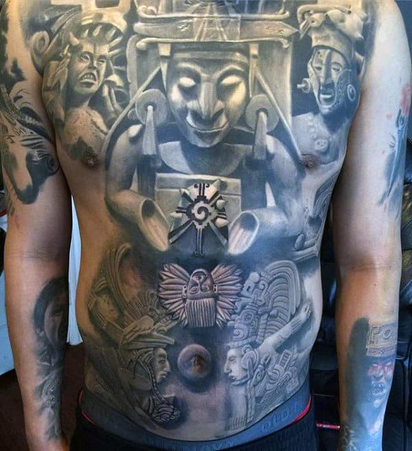 Stone 3d Male Mayan Full Chest Tattoos