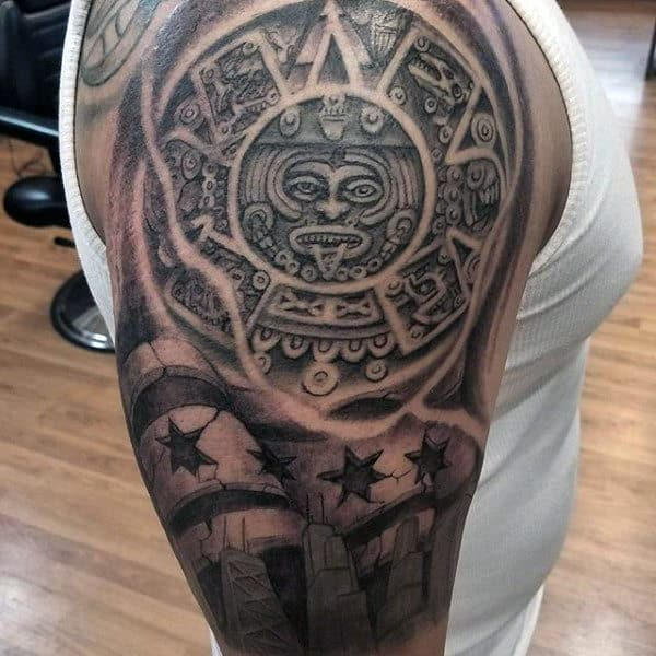 Stone 3d Mens Chicago Half Sleeve Tattoo Designs