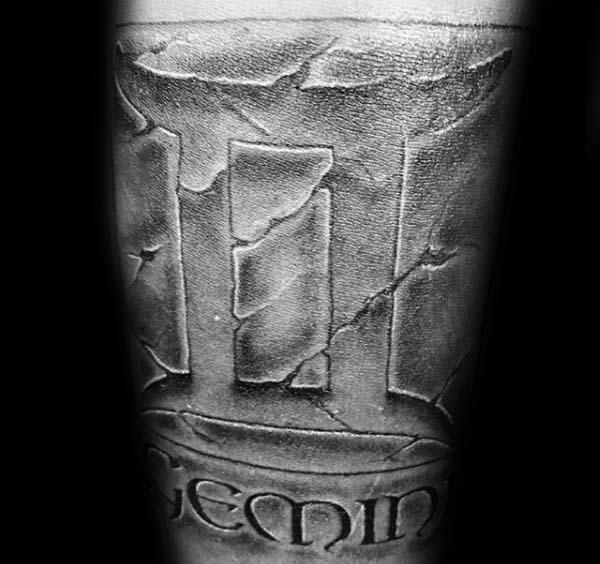 Stone 3d Mens Gemini Astrological Sign Tattoo On Arm