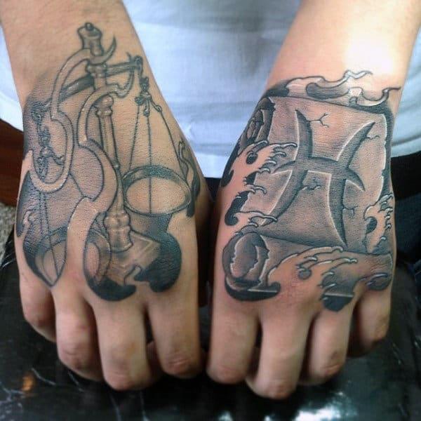 Stone 3d Mens Pisces Zodiac Symbol Hand Tattoo