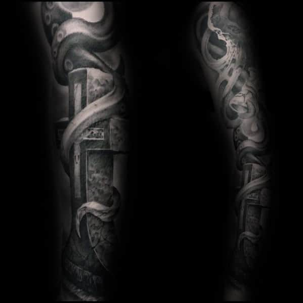Stone 3d Mens Shaded Awesome Black And Grey Ink Full Sleeve Tattoo Ideas