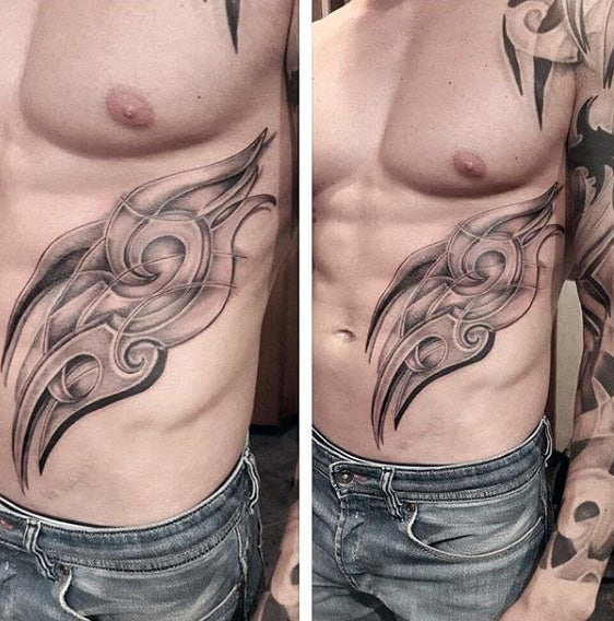 Stone 3d Mens Tribal Rib Cage Shaded Black And Grey Ink Tattoos