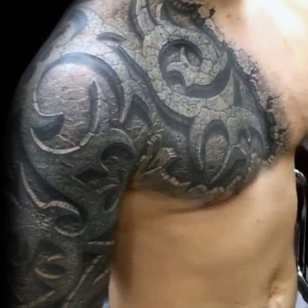 Stone 3d Mens Tribal Shoulder Tattoos