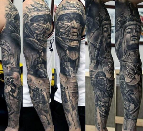 Stone 3d Mens Unique Tattoo Sleeve Designs