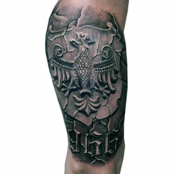 Stone 3d Polish Eagle Male Leg Tattoo Designs