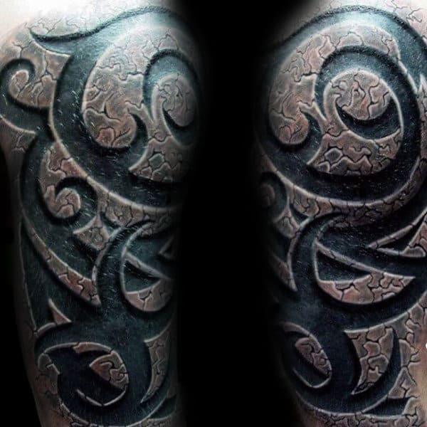Stone 3d Realistic Mens Half Sleeve Tribal Tattoos