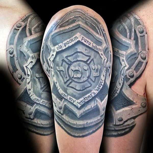 Stone 3d Shield Arm Tattoo For Guys