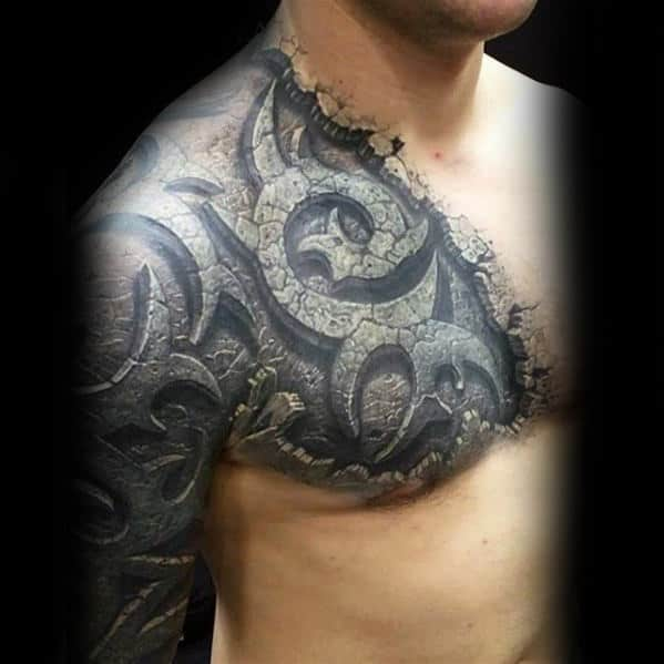 73e265530 Stone 3d Sleeve And Chest Tribal Tattoo Designs For Men