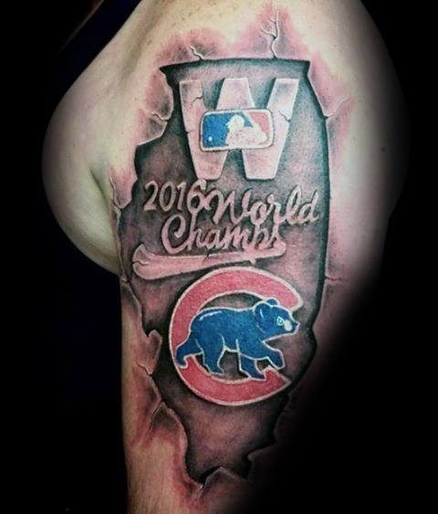 Stone 3d World Champions Arm Chicago Cubs Tattoo Design Ideas For Males