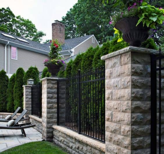 Stone And Vertical Bar Design Ideas Pool Fence
