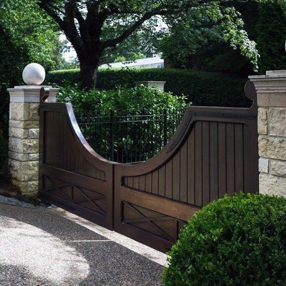 Stone And Wood Double Estate Driveway Gate Ideas