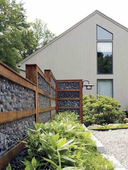 Stone And Wood Home Exterior Designs Modern Fence