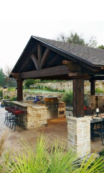 Stone And Wood Outdoor Bar Ideas With Covered Roof