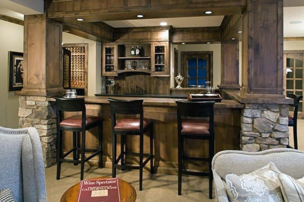 Stone And Wood Rustic Bar Ideas