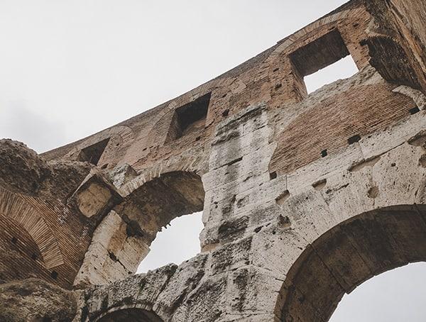 Stone Architecture Up Close Inside Colosseum