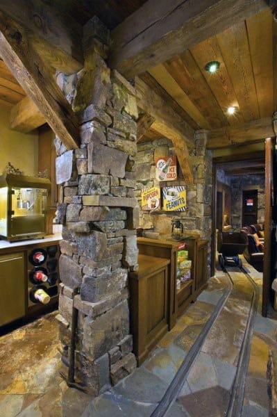 Stone Beam Rustic Basement Ideas