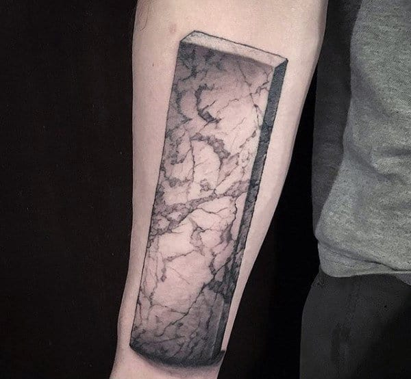 Stone Block Male Original Forearm Tattoo