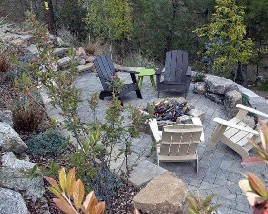 Stone Boulder Paver Home Ideas Patio Firepit