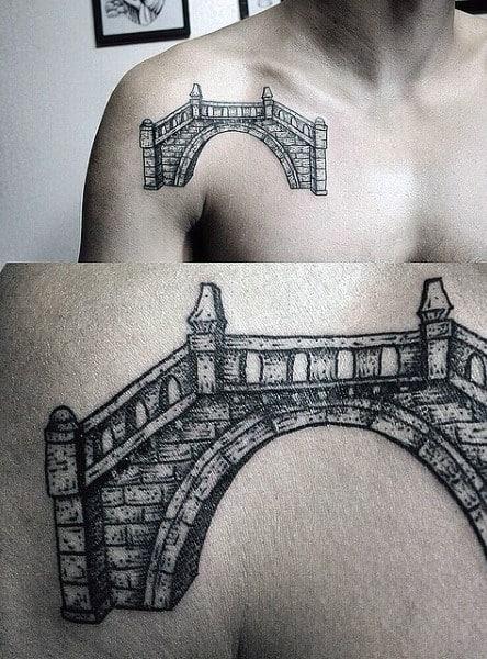 Stone Bridge Mens Upper Chest Tattoo