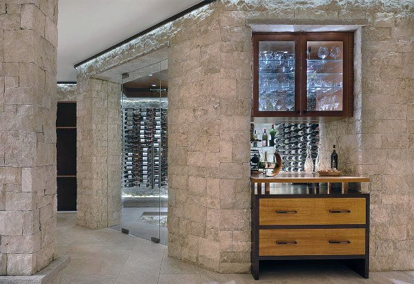 Stone Built In Basement Wine Room Ideas
