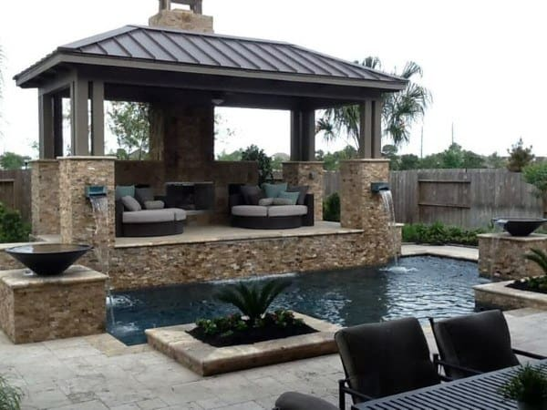 Stone Cladding With Metal Roof Backyard Pavilion Idea Inspiration