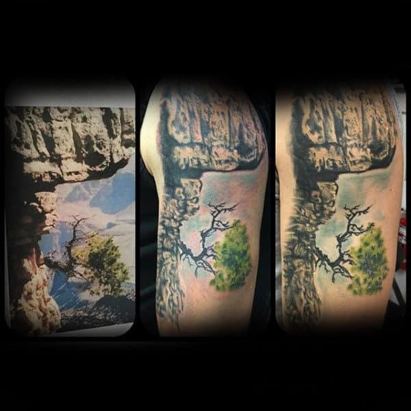 Stone Cliff Mens Upper Arm Tattoo Ideas