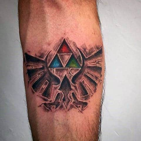 Stone Colorful Triforce Mens Forearm Tatto Deisgns
