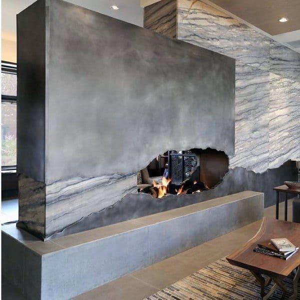Stone Concrete Fireplace Design Cut Out