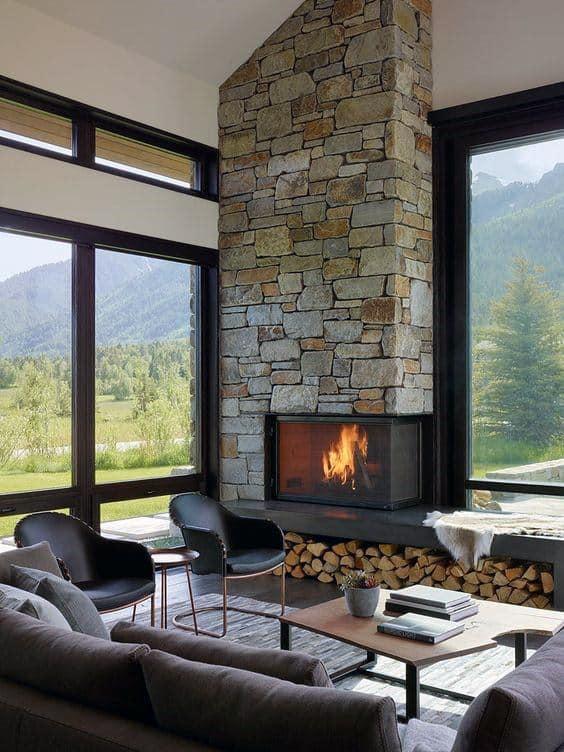 Stone Corner Fireplace Design Living Room