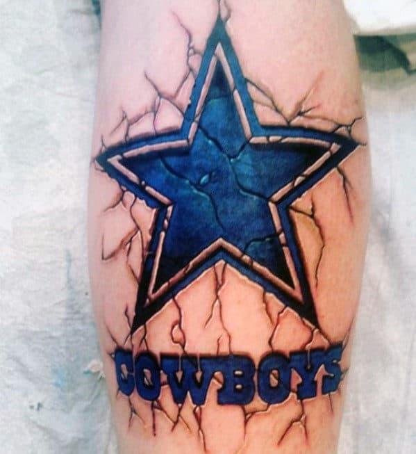 Stone Dallas Cowboys Blue Ink Mens Leg Tattoo