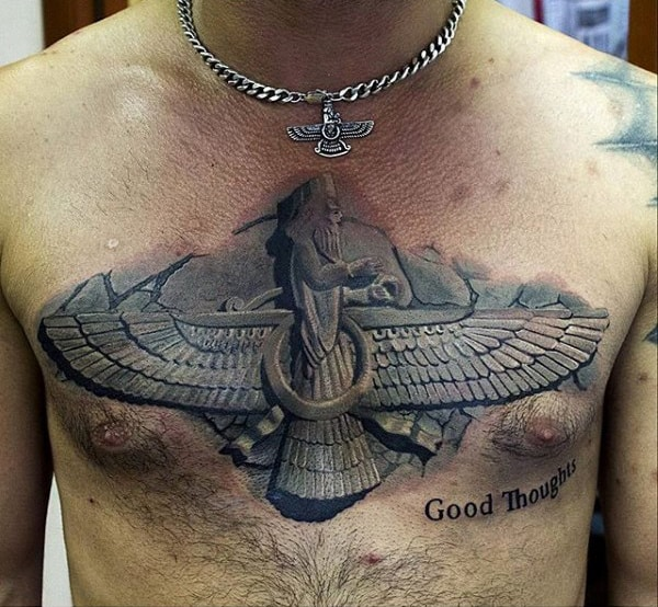 Stone Egyptian Mens Upper Chest Tattoo Designs