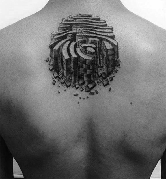 Stone Fingerprint Upper Back Tattoos For Guys