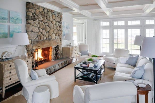 Top 70 Best Stone Fireplace Design Ideas - Rustic Rock Interiors