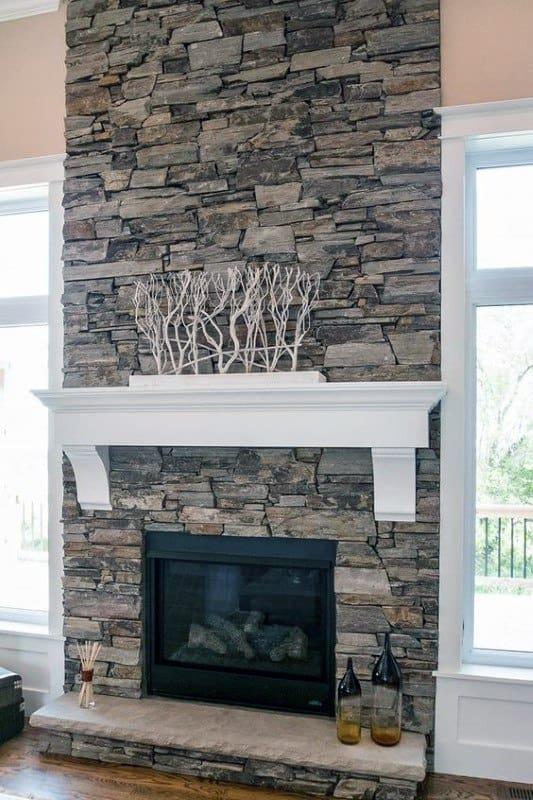 Fabulous Top 70 Best Stone Fireplace Design Ideas Rustic Rock Interiors Download Free Architecture Designs Grimeyleaguecom