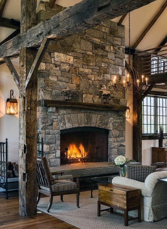 Stone Fireplace Design Rustic Living Room Ideas