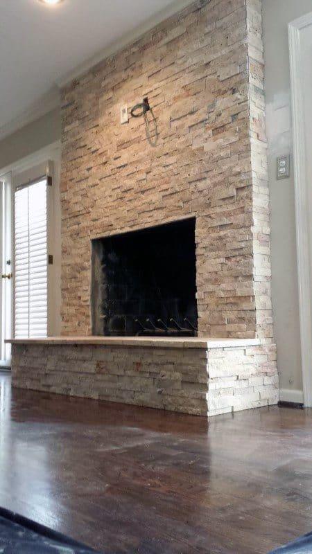 Stone Fireplace Design Thin Veneer Tiles