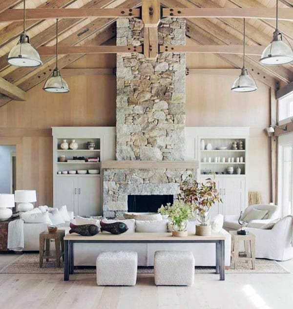 Top 70 Best Stone Fireplace Design Ideas