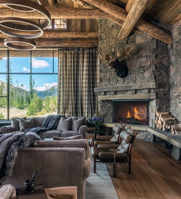 Stone Fireplace Living Room Log Cabin Interior Design