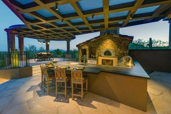 Stone Fireplace Outdoor Kitchen Ideas
