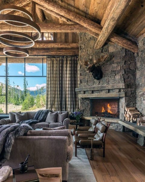 Stone Fireplace With Wood Ceiling Log Cabin Great Room Ideas