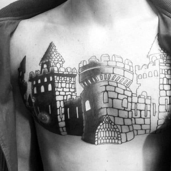 Stone Fortress Castle Chest Guys Tattoo