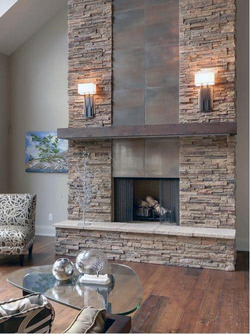 Stone Indoor Fireplace Designs