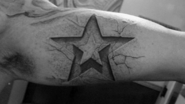 Stone Inner Arm Bicep 3d Star Mens Tattoo Ideas