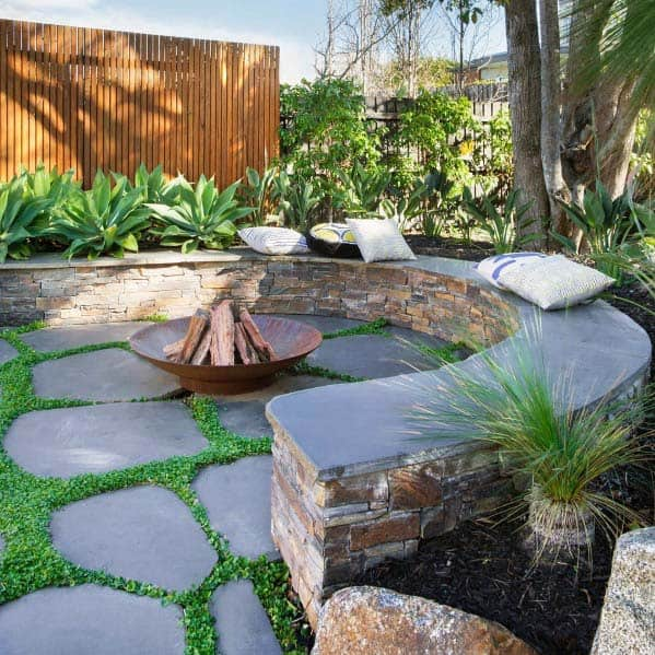 Stone Ledge Backyard Ideas Fire Pit Landscaping